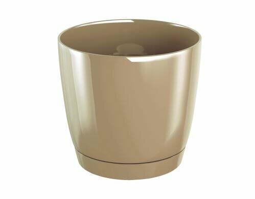 Blumentopf COUBI ROUND P mit einer Schüssel Kaffee mit Milch 28cm