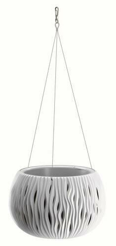 Blumentopf mit Einsatz und Stahl. Kabel SANDY BOWL WS weiß 23,8 cm