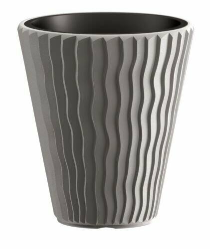 Blumentopf SANDY + Einlage grauer Stein 39 cm