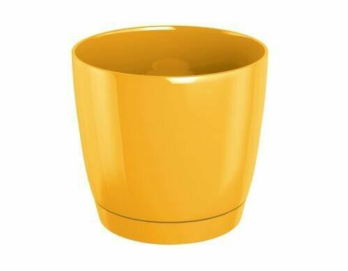 COUBI Blumentopf rund mit Schale gelb 21cm