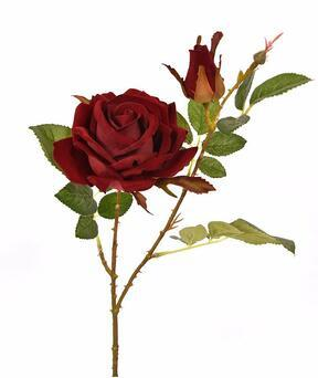 Künstlicher Zweig Rose bordeaux 60 cm