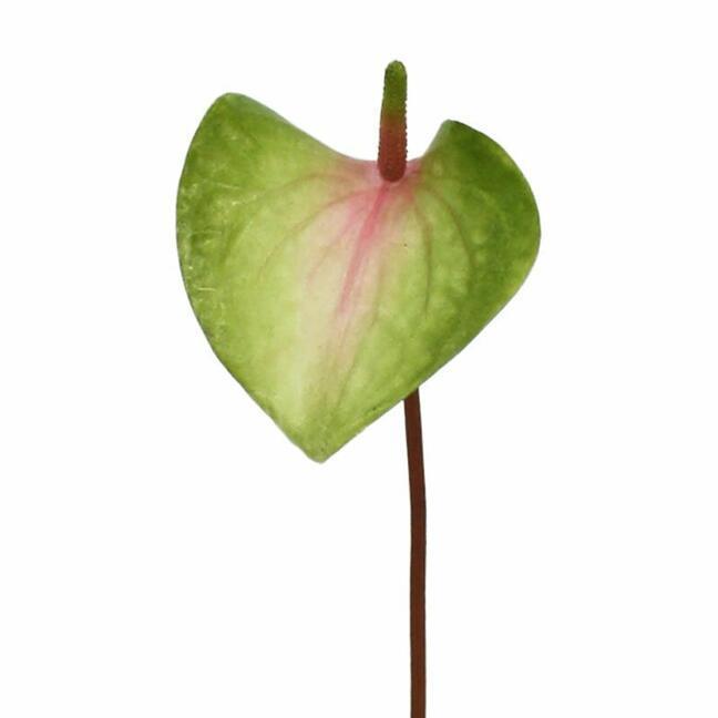 Künstliches Blatt Anthurie rosa-grün 50 cm