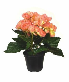 Kunstpflanze Begonie orange 20 cm