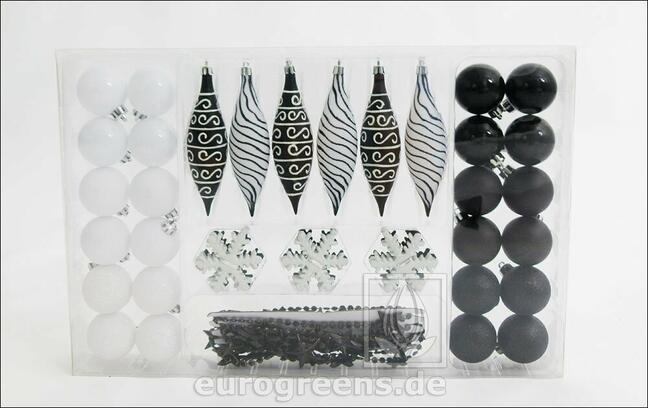 Set aus schwarz-weißem Weihnachtsschmuck 49 Stück